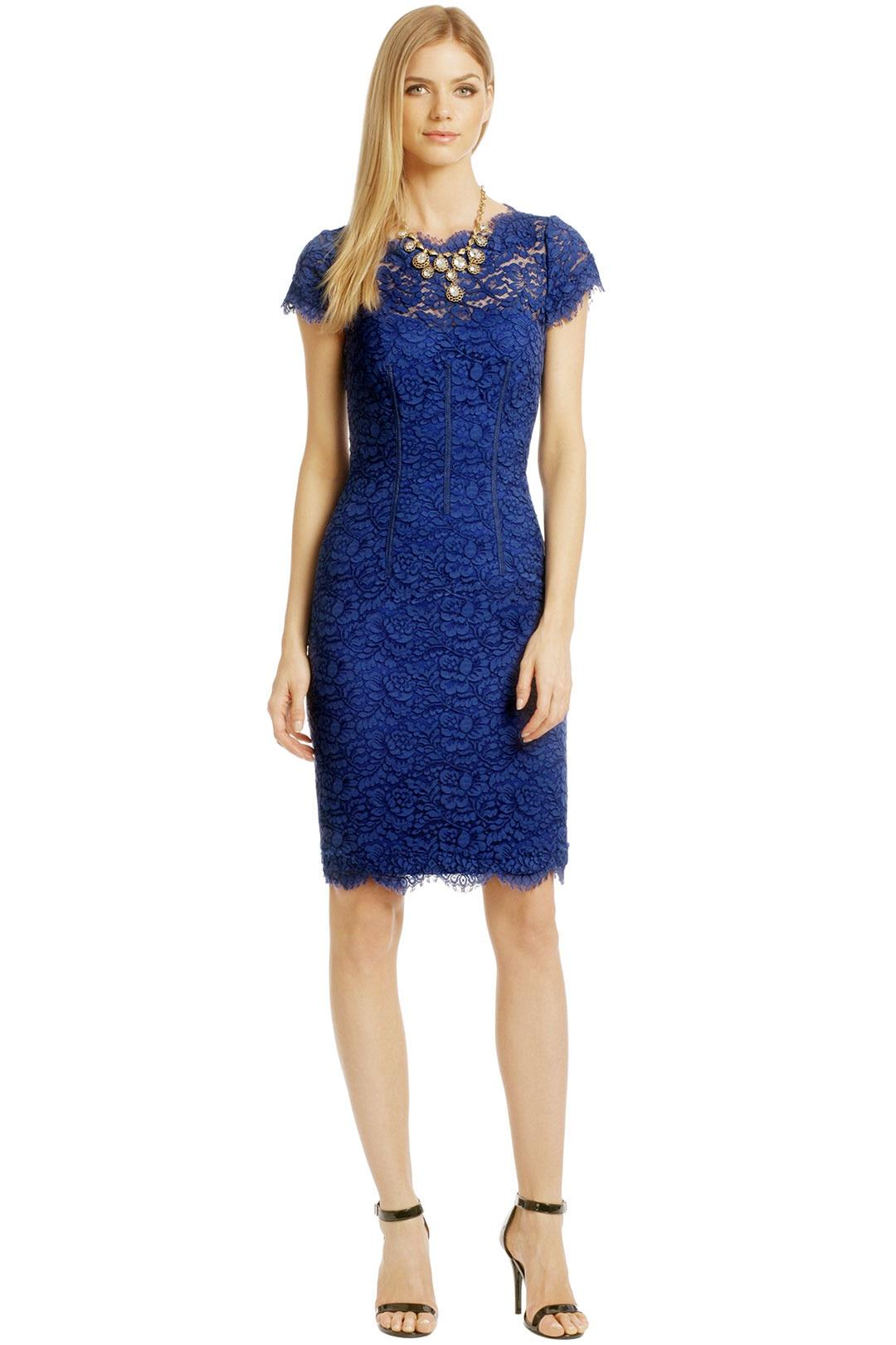 Homecoming Dresses Royal Blue Lace Scoop Neck Knee Length Short Girls Graduation Dress Cap Sleeve Open