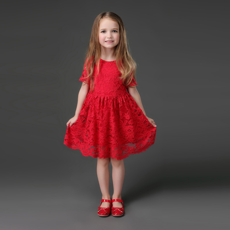One Piece Price High End Female Western Style Red Eyelash Lace Dress Mother And Daughter