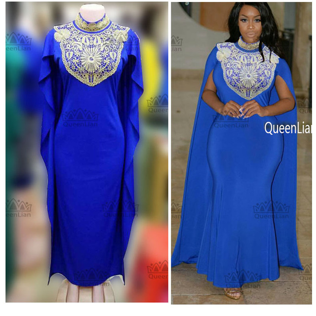 2017 African Bazin Big Elastic Party Embroidery High Collar Dress