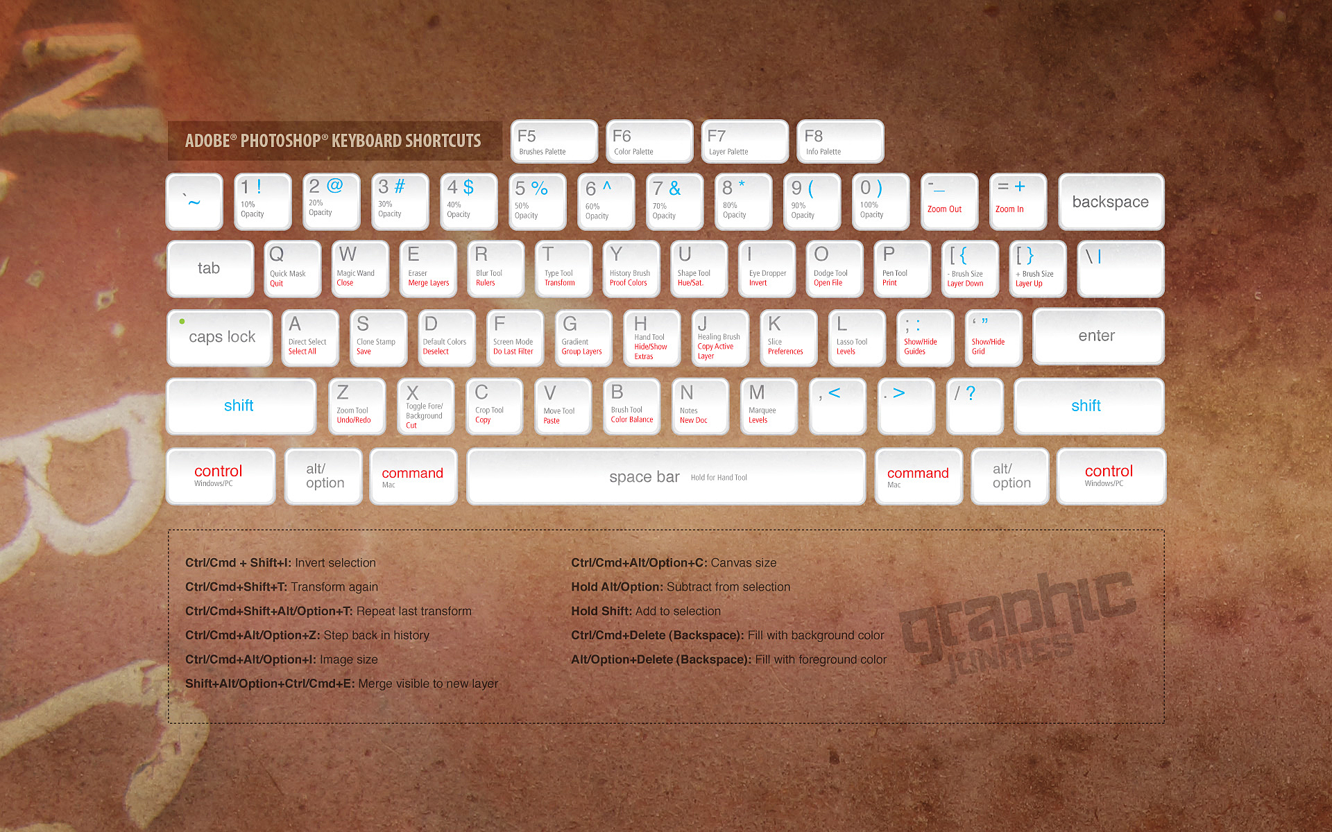 abode photoshop keyboard shortcuts keys diagram detailed poster canvas diy wall sticker home bar posters decoration gift [ 1920 x 1200 Pixel ]