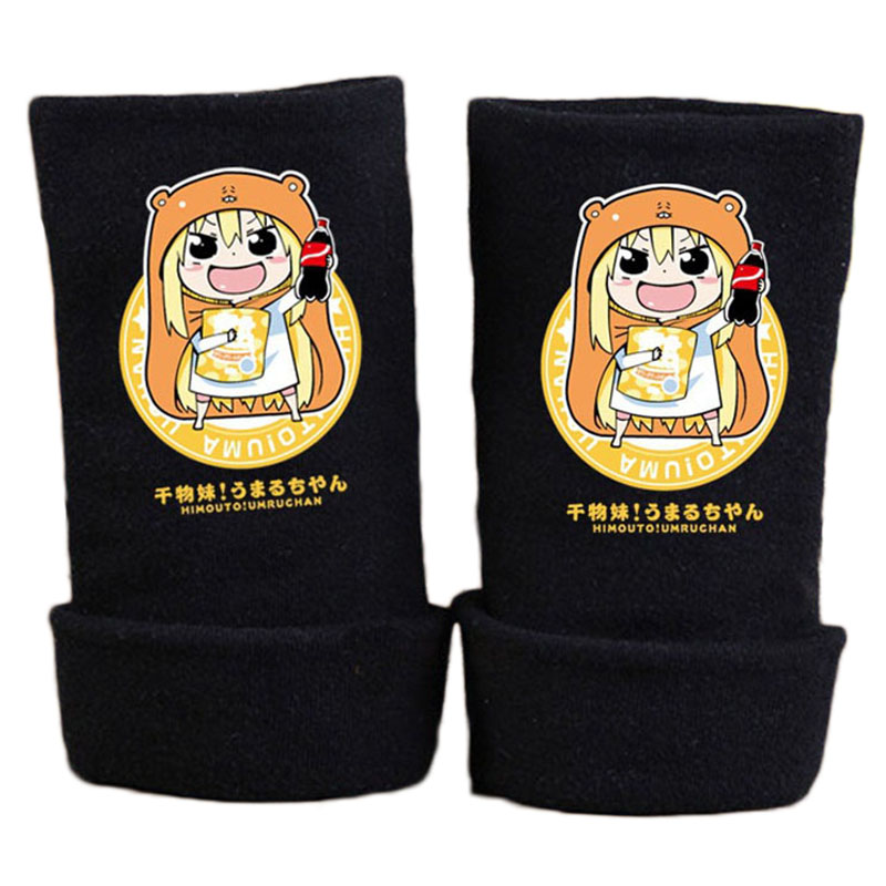 2017 New Fashion Winter Warm Cotton Glove Anime Himouto Umaru Chan Gloves Print Fingerless Mitten Unisex Cosplay Gift