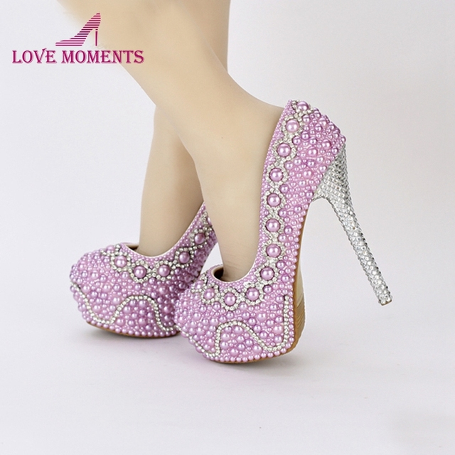 2018 New Handmade Fashion Purple Pearl Wedding Shoes Luxury Rhinestone  Stiletto Heel Bridal Dress Shoes Evening Party Prom Pumps 2eb261246381