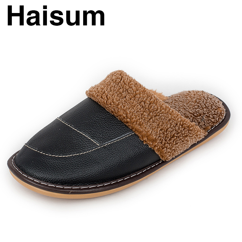 Men 's Slippers Winter Genuine Leather Home Indoor Non - Slip Thermal Slippers 2018 New Hot Haisum Tb020 men s slippers winter pu leather home indoor non slip thermal slippers 2018 new hot haisum h 8007