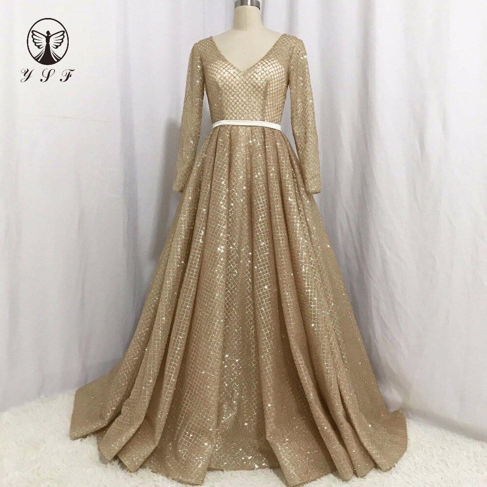 Simple Elegant Long Sleeve V Neck A Line Lace Top Satin: Simple But Elegant Golden Plunging V Neck Long Sleeve