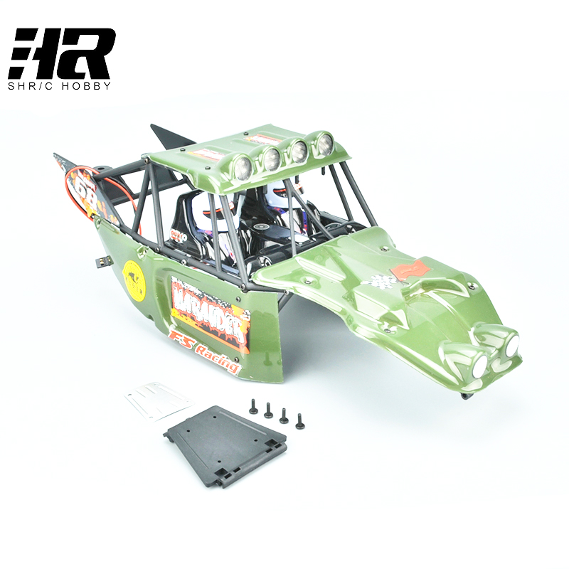 RC car 1/10 FS car shell finished car shell is green with lights desert card is a special off-road Free shipping