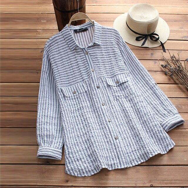 6638fda5a3c 2018 Autumn Women Casual Striped Blouse Female Button Down Long Sleeve Shirt  Vintage Cotton Linen Blusa
