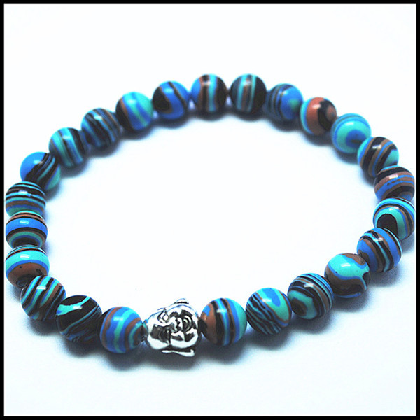 2015 new designs beads bracelets with buddha charms mens's and women's bracelets new designsmalachite stone 8mm size top quality