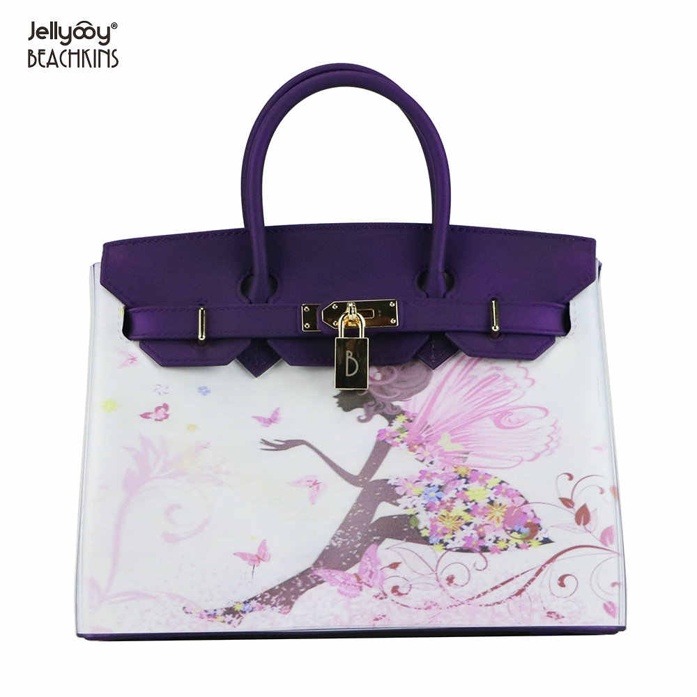 3f4649466f ... Jellyooy Beachkins Women s Padlock Flap Luxury Classic Handbags Matte Jelly  Bags Floral Girls 3D Printing Pattern ...