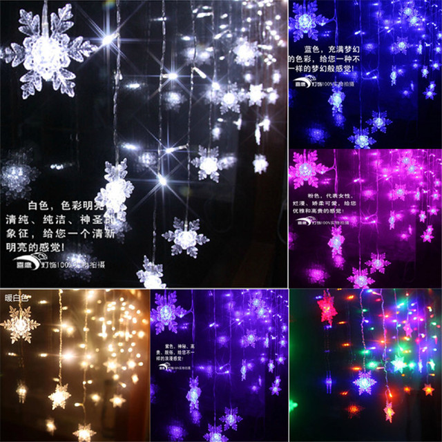 Christmas Curtain Lights 8m 192SMD 48 Snowflake Icicle Light Garlands Home  Decoration For Holiday Party Wedding Nice Design