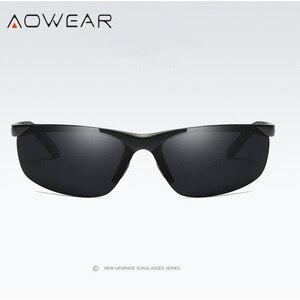 Image 3 - AOWEAR lunettes de soleil polarisées pour hommes, HD, Anti éblouissement, monture en aluminium, pour la conduite, la pêche, sport, plein air