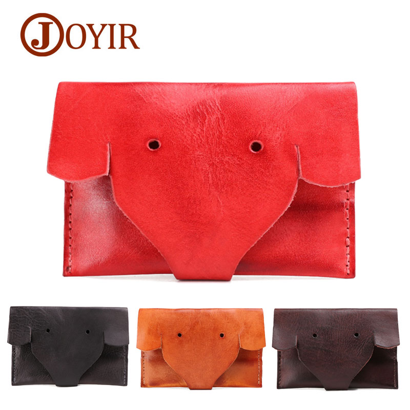 JOYIR Elephant Genuine Leather Coin Purses Unisex Change Purse Mini Card Holder Handmade Wallet Women Clutch Hasp Bag Pouch