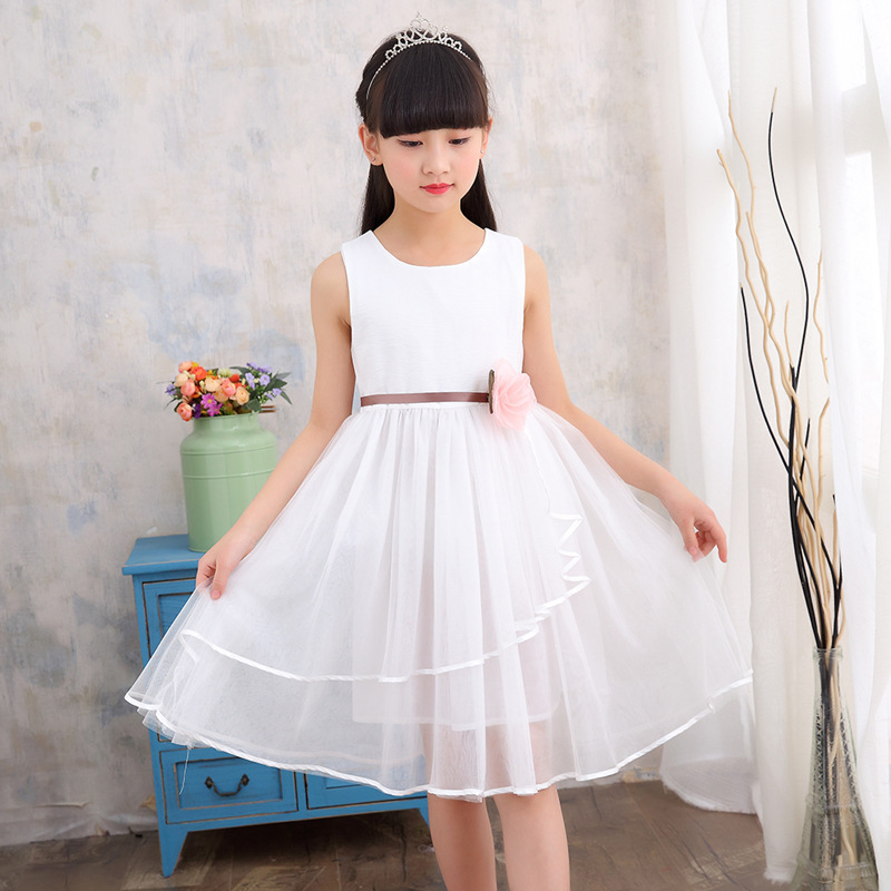 2017 Summer Tulle Girls Dress Floral Top Fashion Party And Wedding Princess Kids Toddler Dresses Children Clothing Girl Clothes girls dress summer 2017 ball gwon girl children clothing brand clothes solid kids for princess party wedding toddler dresses