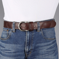 Genuine Leather Belt Men Luxury Vintage Men S Belts Brown Color Jeans Buckle Strap Good Quality