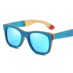 Image 5 - EZREAL סקייטבורד עץ משקפי שמש מסגרת כחולה עם עדשות 400 הגנה UV משקפי שמש במבוק שיקוף ציפוי בקופסא עץ