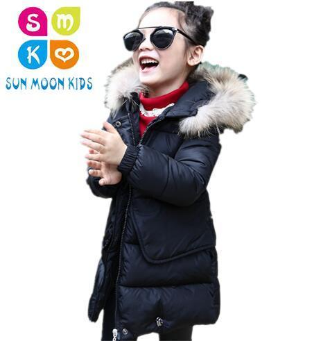 Fashion Thick Warm Fur Hooded Girls Winter Coat Zipper Solid Slim Child Winter Jacket For Girls Baby Kids Cotton Parka Down 2017 winter jacket women fashion coat fur collar cotton padded hooded thick warm outwear parka slim female down six colors m 3xl