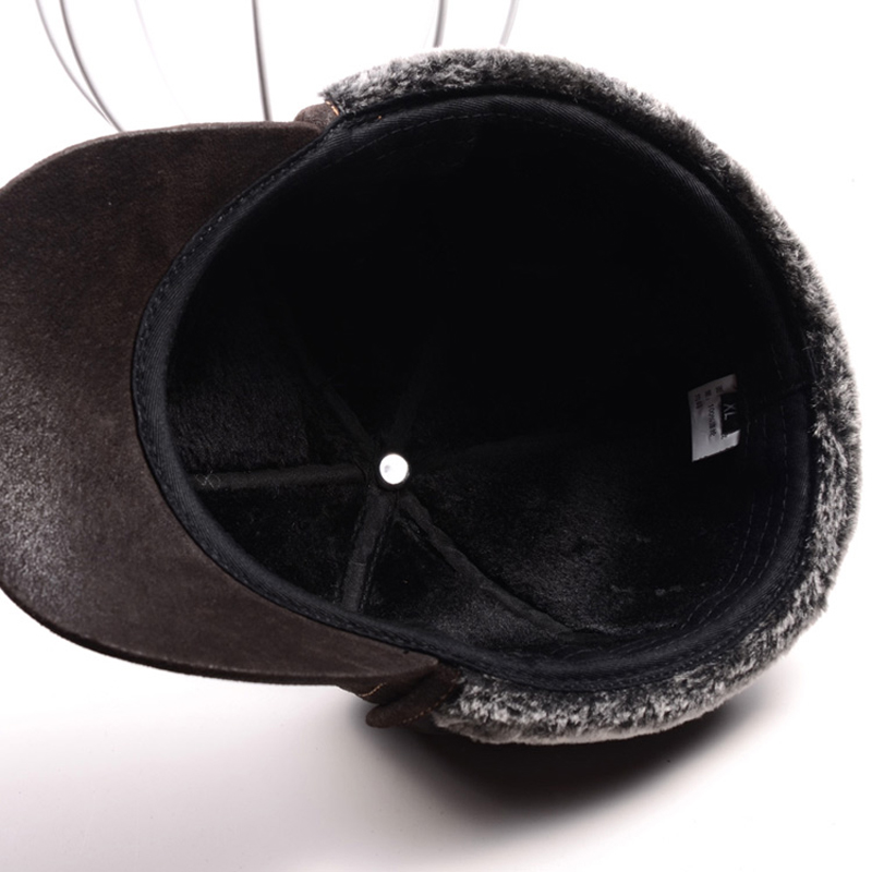 Image 5 - RY9100 Male Winter Genuine Leahter Suede Bomber Hat Man Nubuck Thick Head Warm Dome Caps Elder Black/Brown sewing Fitted GorrasMens Bomber Hats   -