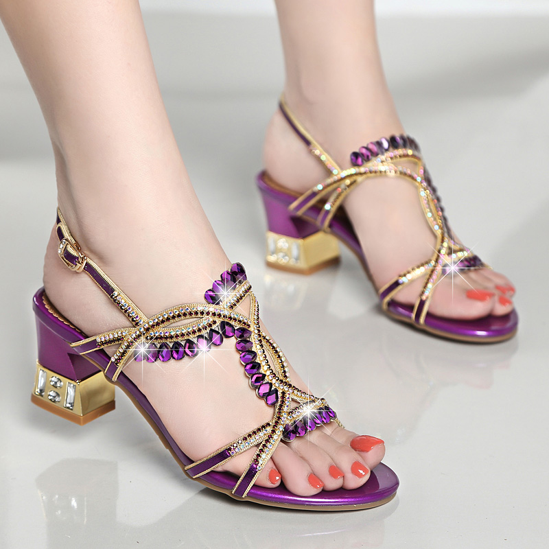 2018 New Noble Crystal High heeled Shoes Woman Fashion Elegant Purple Blue Rhinestone Buckle Strap Women 39 s Shoes Wedding Banquet in Women 39 s Pumps from Shoes