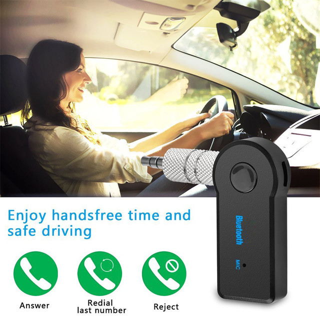 Rovtop Mini 3.5MM Jack AUX Audio MP3 Music Bluetooth Receiver Car Kit Wireless Handsfree Speaker Headphone Adapter for iphone Z4