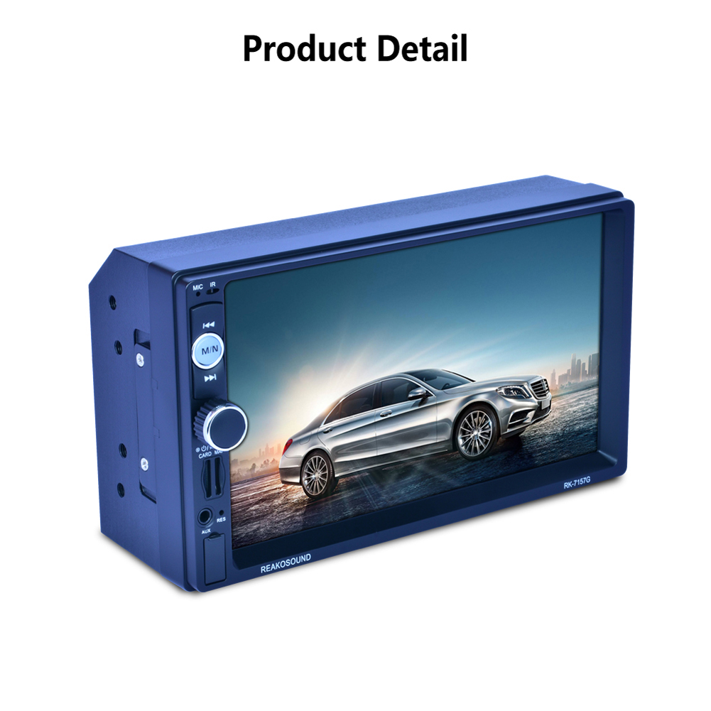 7  Bluetooth 2 Din Touch Screen Wireless Rearview Camera Monitor Microphone GPS Car Mp5 RDS AUX Mirror Link With GPS Navigation 7 touch screen wince 6 0 gps navigator rearview mirror w bluetooth av in 4gb maps sd card