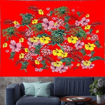 Mandala Wall Tapestry | Vintage Pineapple Flower Pattern Red Macrame Tapestries Fruit Wall Hanging Bohemian Wall Home Decor Indian Mandala GN.PAPAYA