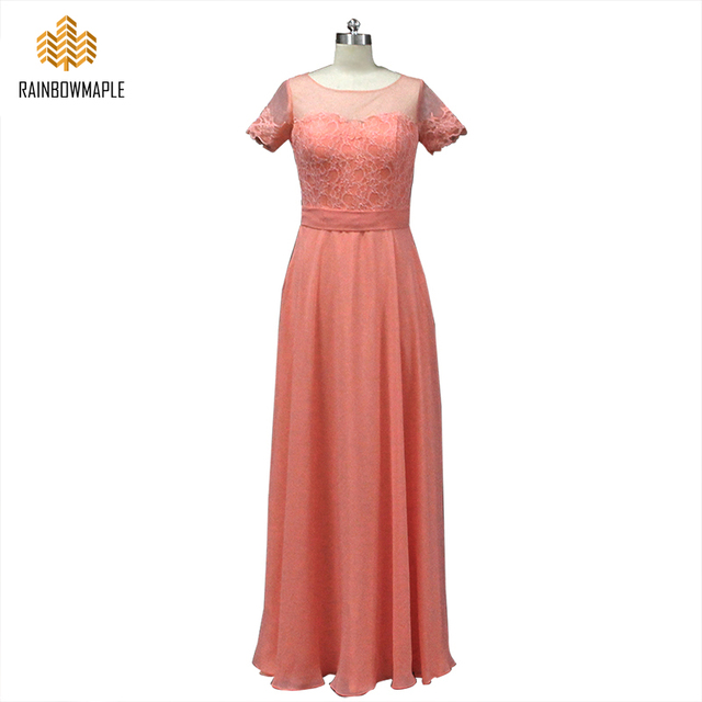 Vintage Short Sleeves Lace Chiffon Long Bridesmaid Dresses For Wedding Party Orange Dress