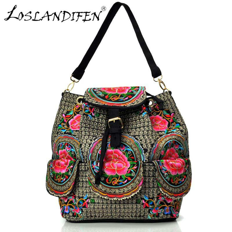 China style canvas embroidery backpack & shoulder bag dual-use women bags multi-functional embroidery flower new bucket bag street style stylish buckle embellished multi way black canvas backpack for women