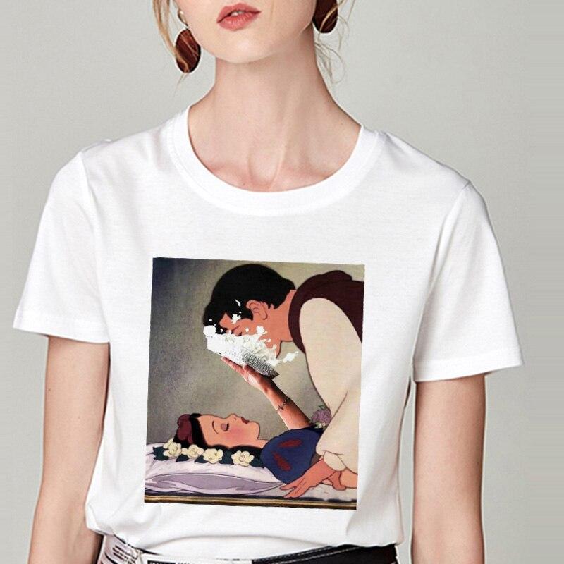 Summer Tshirt Snow White Fun Fashion Printed   T  -  shirt   Spoof Personality Harajuku Funny Casual Thin Section   T     Shirt   Women Clothing