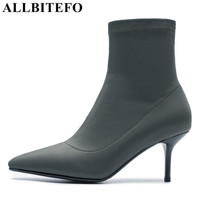 ALLBITEFO hot sale Stretch cloth pointed toe women high heel shoes high-heeled ankle boots girls shoes winter boots bota de neve