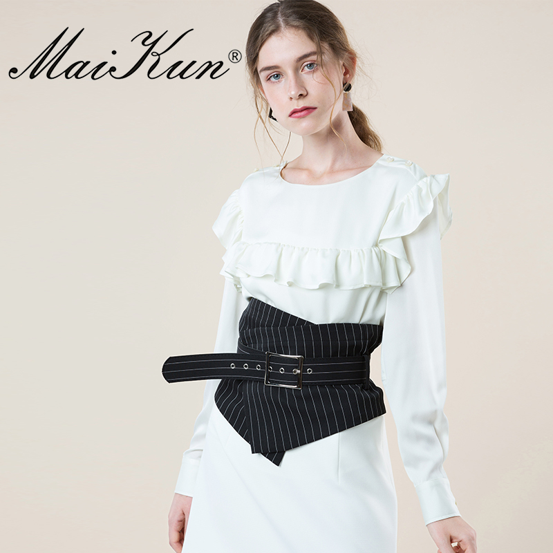 European Style Striped Wide Belts For Women's Irregular Plaid Cummerbund For Elegant Dress Vintage Fabric Pin Buckle Women Belt