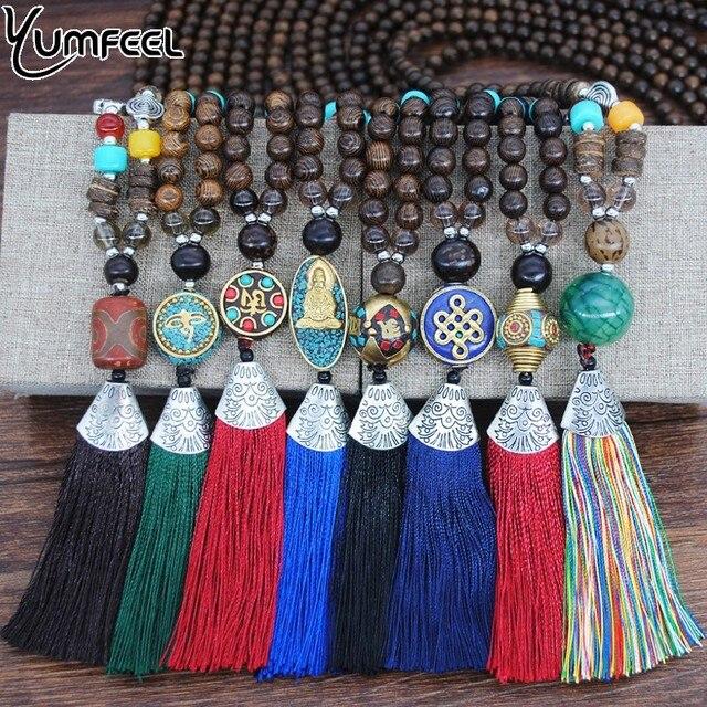 Yumfeel Marca Nova Geometria Mulheres Colar Longo Bead Nepal Do Vintage Antique Gold & Cor Prata Pingentes & Colar de Jóias
