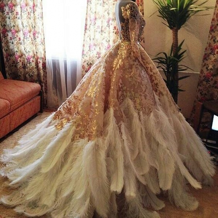 Online Buy Wholesale Feather Wedding Dress From China
