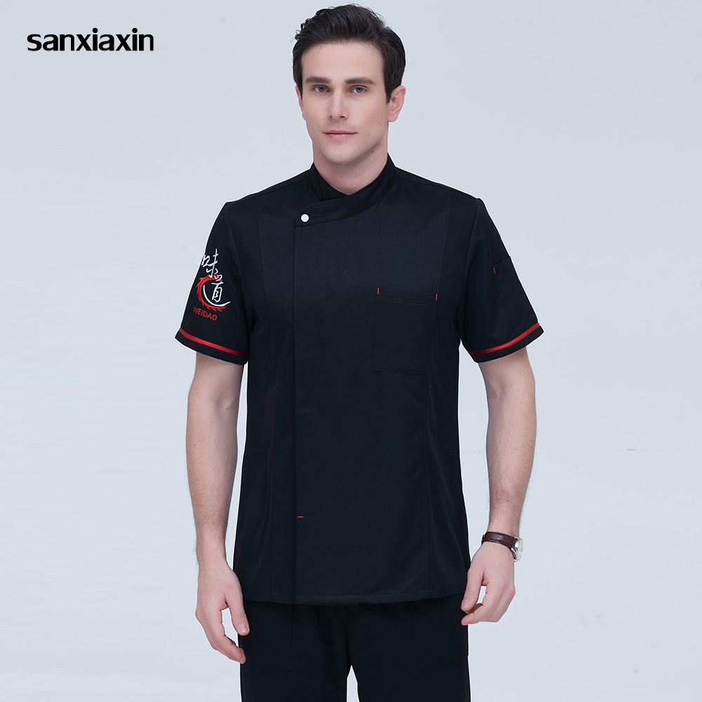 High Quality Chef Uniforms Food Service Restaurant Catering Chef Embroidery Kitchen Jackets Cooker Work Clothes 5 Colors M-4XL