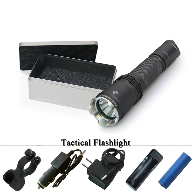 tactical flashlight cree xm l2 led flashlight Waterproof torch lanterna Military linterna hunting flash light 18650 or cr123 tactical flashlight led torch cree xm l2 waterproof flash light 18650 rechargeable battery tactical frame tail switch
