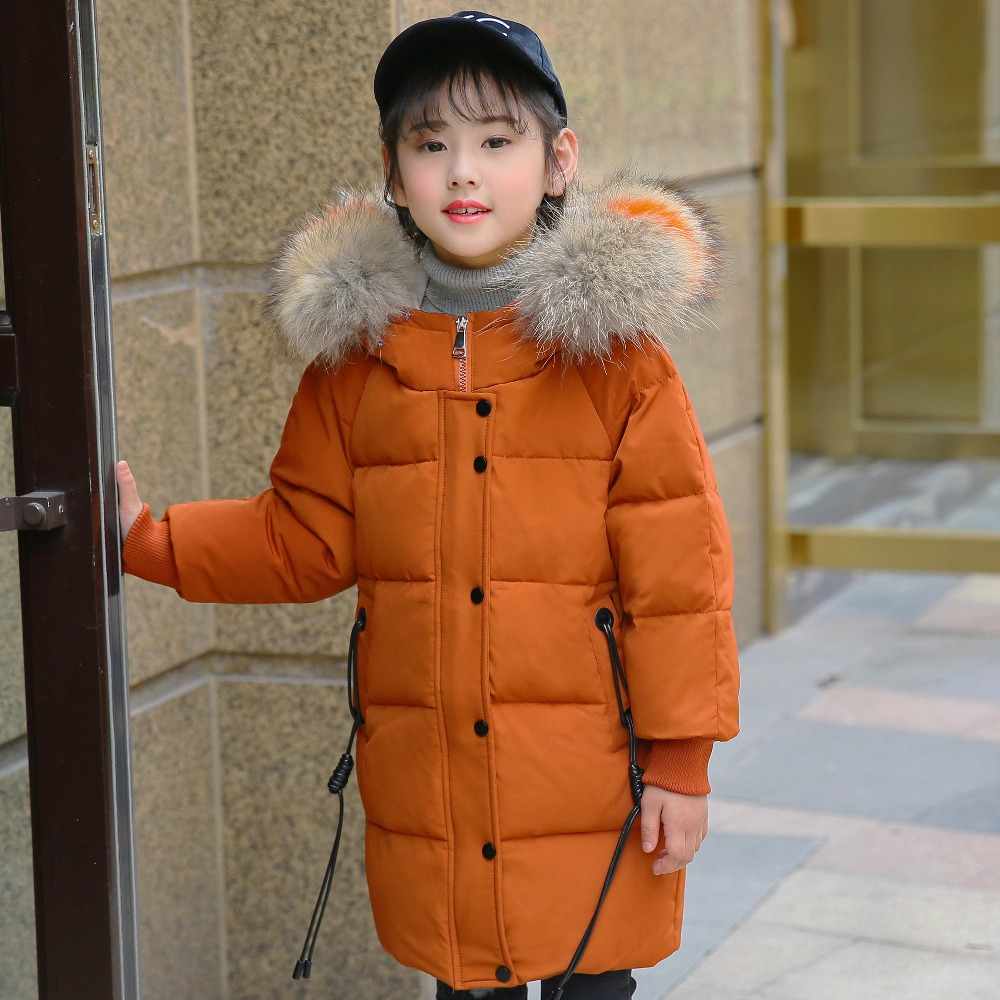 XYF8806 Girl Winter White Duck Down Coat Child Big Fur Collar Keep Warm Thick Hooded kids Jacket Long Outerwear Boys Windbreaker босоножки moda donna босоножки