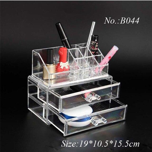 Plastic Acrylic 2 Drawers Jewelry Cosmetic Organizer Good Qaulity