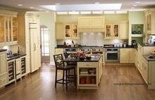 PVC/vinyl kitchen cabinet(LH-PV082) solid wood curved shape kitchen cabinet lh sw089