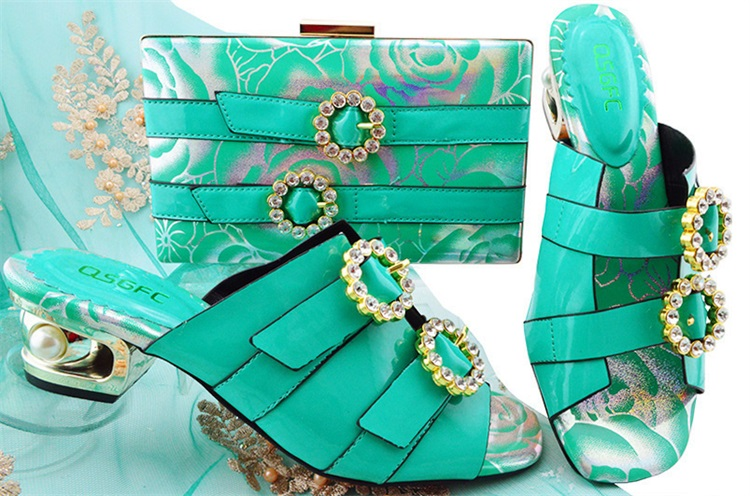 Teal Color Italian Shoes with Matching Bags 2018 African Shoe and Bag Set Italian Design African Shoes and Bag Set for MM1064 2018 new arrival pink color italian shoe with matching bags shoes and bag set african sets 2018 shoe and bag italian design sets