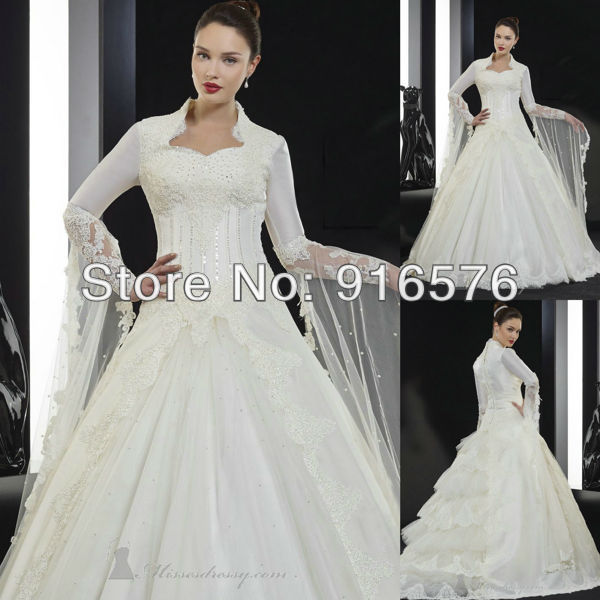Wedding Dresses With Sweetheart Neckline And Sleeves: Floor Length Long SLeeves Beaded Sequins Sweetheart