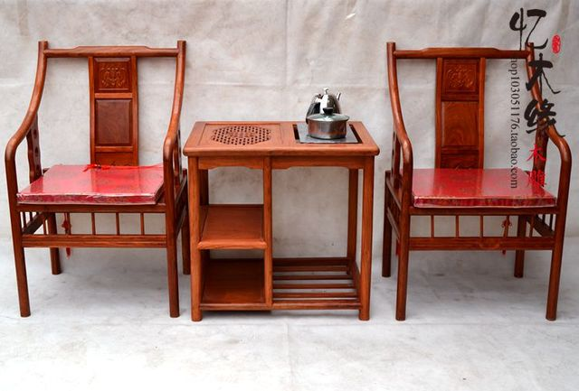 Chinese Antique Mahogany Wood Furniture Rosewood Chair Chair Three Piece  Tea Table Seat Palace Tea Table