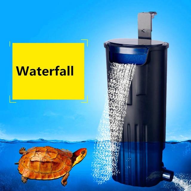 waterfall aquarium turtle fish tank oxygen pump built in low water