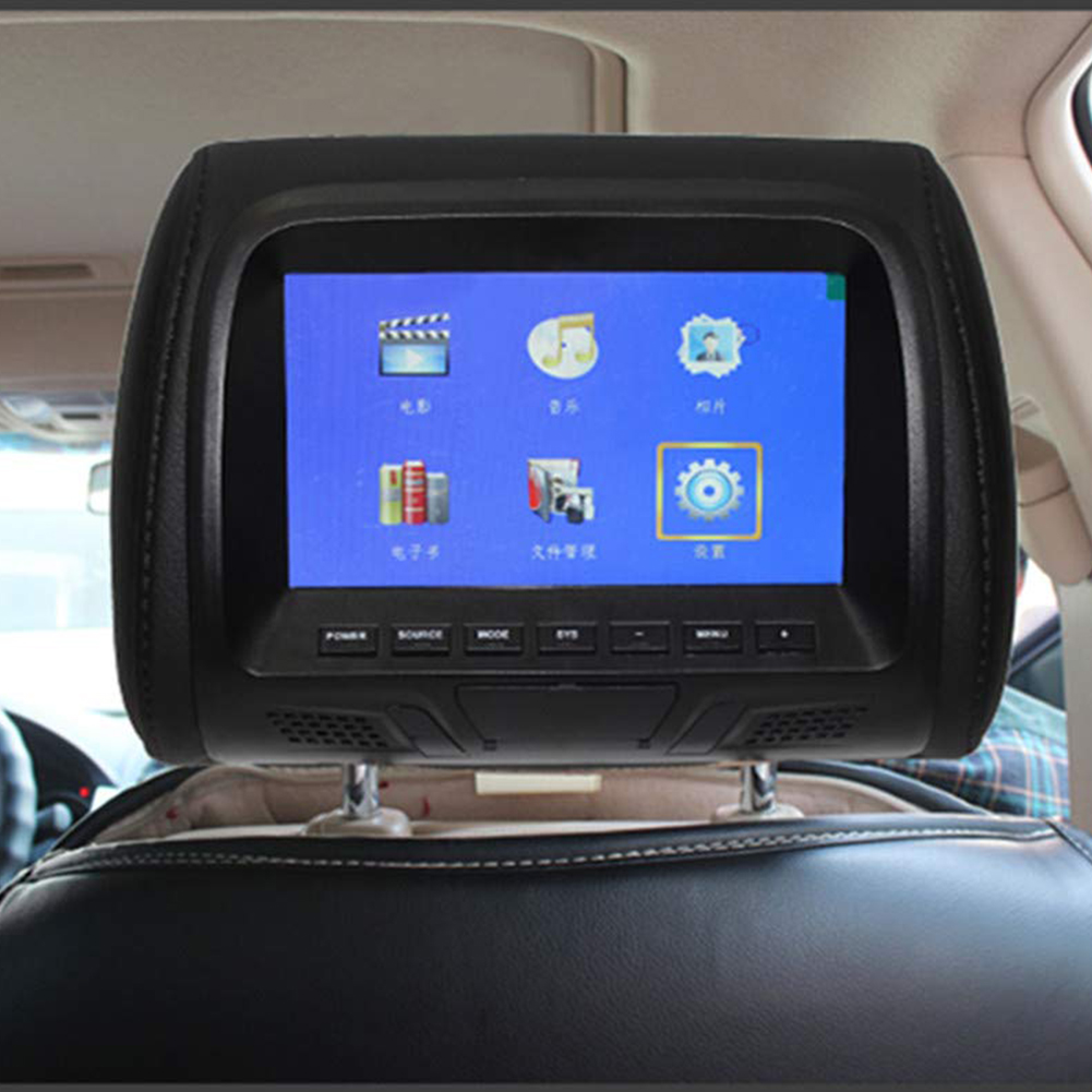 7 Inch Video Headrest Monitor Car Universal Camera Built In Speaker Player LED Screen Multi Media Seat Back Digital Support USB