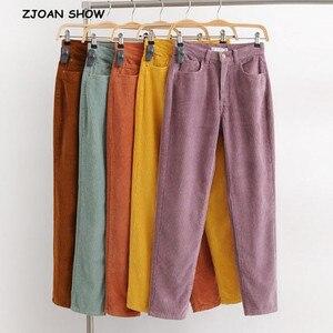 Image 1 - Vintage Macaron color Corduroy Pants Autumn Woman Mid Waist Ankle Length Loose Harem Pants Trousers Femme Casual Long Pants