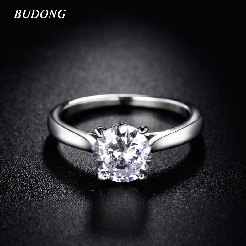 BUDONG Nova Moda 2016 Cubic Zirconia Anéis Infinito Branco Cor Prata  Cristal Anel da Promessa de Noivado para As Mulheres XUR036 12e74d6b99