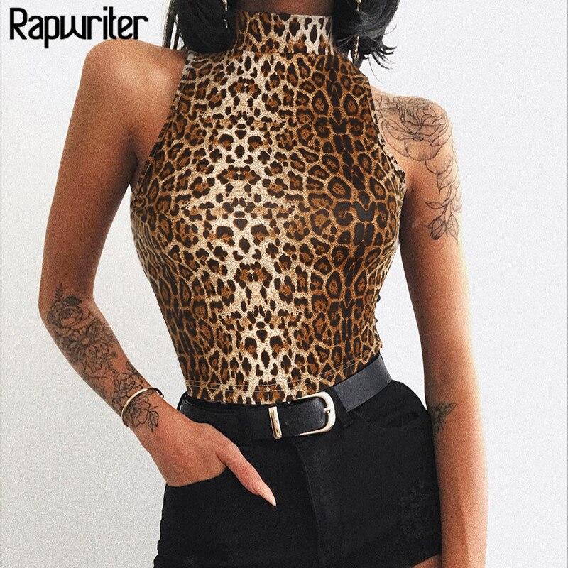 Rapwriter Casual Stand Collar Stretch Leopard Tank Tops Women 2018 Heat Streetwear Sleeveless Bodycon Camisole Crop Top female blusa sexi animal print