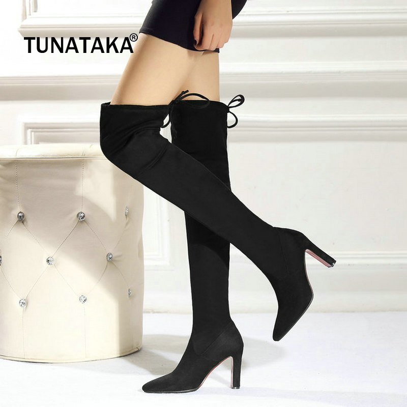 Faux Suede Sqaure High Heel Lace Up Woman Over The Knee Boots Fashion Pointed Toe Winter Thigh Boots Stretch Boots Black