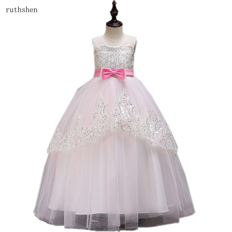 ruthshen New Hot Sell   Flower     Girl     Dress   With Custom Colorful Belt Wedding   Girl   Transparent Ball Gowns Kids Pageant   Dress