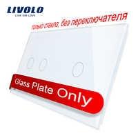 Livolo Luxury White Pearl Crystal Glass,151mm*80mm, EU standard, Double Glass Panel VL-C7-C2/C1-11 (4 Colors)