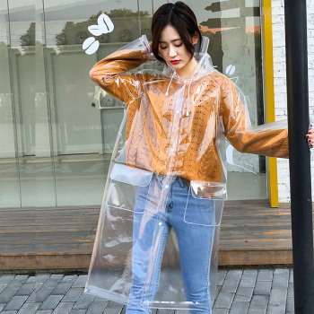 Yuding Transparent Raincoat Hooded Women Waterproof Outdoors Plastic Rainwear Clear Rain Coat for Ladies\Girls With Real Pockets