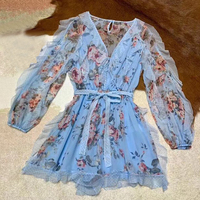 2019 Office Lady V Neck Sashes Dress with Petal Sleeve Retro Floral Printed Dresses Elegant Light Blue Dress Women