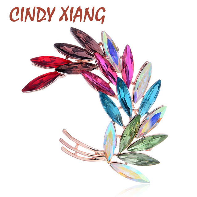 CINDY XIANG Mix Color Leaf Brooches For Women Multi-color Crytal Brooch Wedding